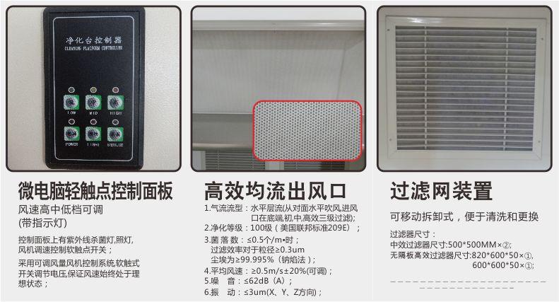 出風口 過濾網裝置 控制面板-雙人水平超凈工作臺-無錫一凈