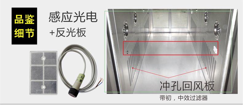 感應光電+反光板-自動感應移門風淋室-無錫一凈