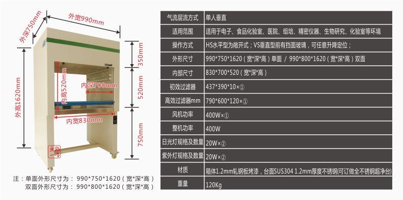 产品参数-无锡一净YJ-VS-1单人垂直工作台-无锡一净